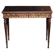 Console Table with Gold and Red-Painted Apron