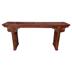 A Plank Top Console with Recessed Legs