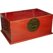 A Red Lacquered Chinese Chest or Trunk
