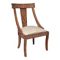 Bone Inlaid Upholstered Side Chair