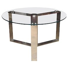 Round Polished Steel and Glass Top Dining Table