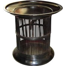 Black Lacquered Bamboo Drum Table From Thailand