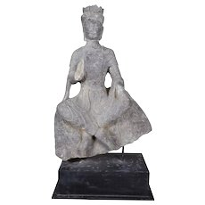 Antique Boddhisattva Statue Carved in Black Limestone