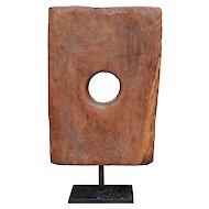 Teak Tile Sculpture on a Stand
