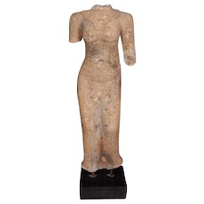 Carved Sandstone Female Torso, on stand