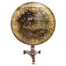 Chinese Export Black and Gilt Lacquer Tilt Top Table, 19th Century