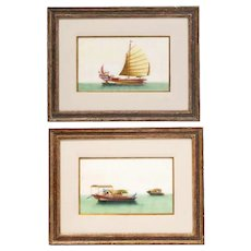 Pair of Chinese Export Pith Paper Watercolor Paintings of Boats, Finely Framed