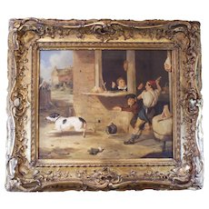 """Ruckus at the Butcher Shop,"" 19th Century English Dog Painting"