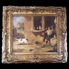 """""""Ruckus at the Butcher Shop,"""" 19th Century English Dog Painting"""