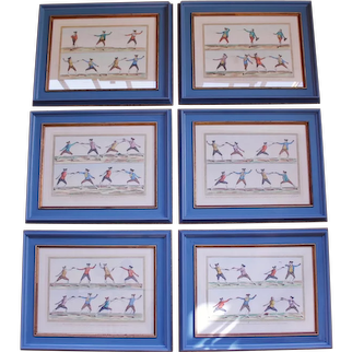 Set of Six French Fencing Engravings, 18th Century, by Robert Bénard
