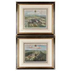 Pair of Bird's Eye English Estate Views Engraved by Johannes Kip