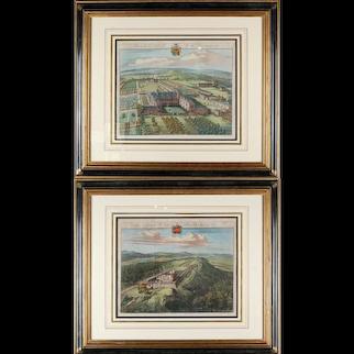 Pair of Bird's Eye English Estate Views Engraved by Johannes Kip