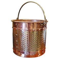 English Polished Copper and Brass Peat or Coal Bucket