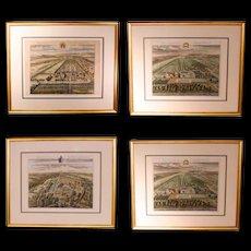 Set of Four Bird's Eye English Estate Views Engraved by Johannes Kip
