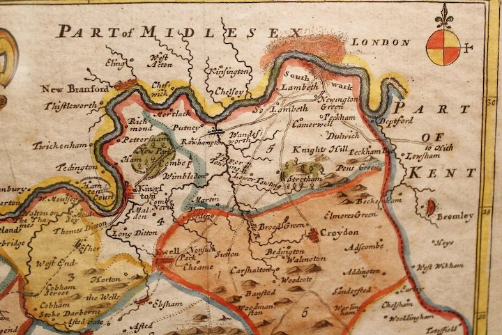 Full Map Of London.17th Century Map Of South London And The County Of Surrey By Robert Morden