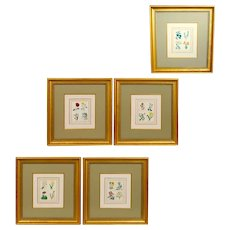 Set of Five 19th Century English Botanical Prints, Benjamin Maund