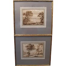 Pair of Sepia Landscape Engravings after Claude Lorrain