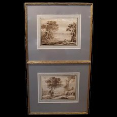 Pair of Sepia Landscape Engravings after Claude Lorrain