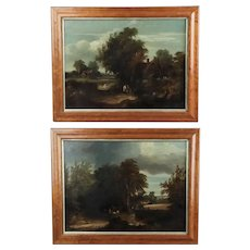 Pair of English Landscape Paintings, Oil on Canvas