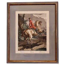 """Pallotade,"" Large Equestrian (Dressage) Engraving by  J. E. Ridinger"