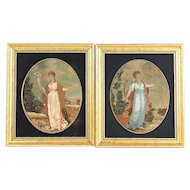 Pair of French Needlework Compositions in Gilt Wood Frames