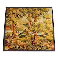 French Verdure Tapestry With Castle And Birds, 19th Century