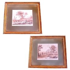 Pair of 18th Century Sepia Landscape Engravings After Claude Lorrain