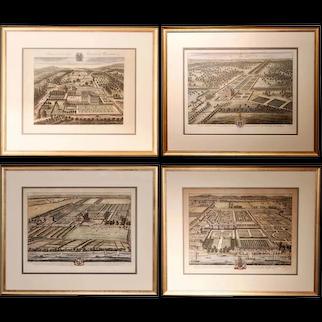 Bird's Eye English Estate Views Engraved by Johannes Kip, 18th Century - Set of 4
