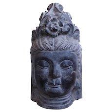 Chinese Carved Stone Buddhistic Head, (Bodhisattva)
