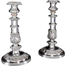 Pair of George IV Period Silver on Copper Telescopic Candlesticks