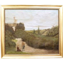 """""""Walking on the Castle Grounds"""" Oil on Canvas"""