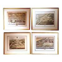 Set of Four Bird's Eye English Estate Views Engraved by Johannes Kip