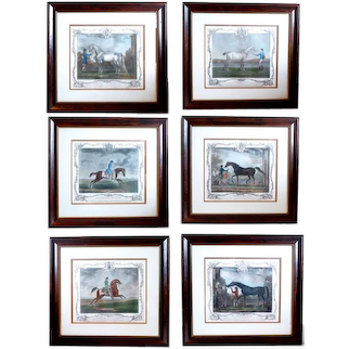 Set Of Six 18th Century Handcolored Aquatint Engravings Of Famous Racehorses