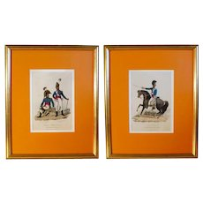 Pair of Napoleonic Era European Military Regimental Costume Prints (1809)