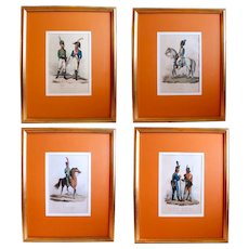 Set of Four Napoleonic Era European Military Regimental Costume Prints (1809) - Spanish and Portuguese