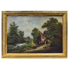 "Large English Landscape Painting, ""An Outing at the Mill,""  Late 19th Century"