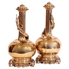 Pair of Chinese Polished Brass Gourd Shaped Flasks with Lizards