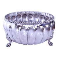 Large Old Sheffield Silver on Copper Footed Bowl
