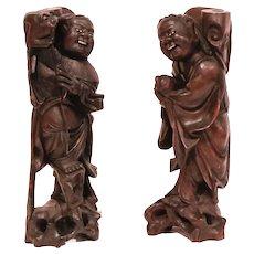Pair of Japanese Carved Hardwood Fishermen Candlesticks or Joss Stick Holders
