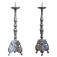 Pair of 18th Century German Pewter Prickets