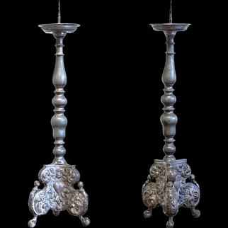 Pair of 18th Century German Pewter Prickets