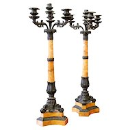 Restauration Period French Siena Marble and Bronze Candelabra