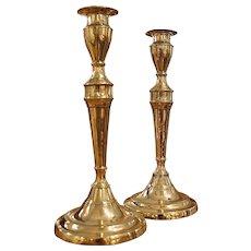 Pair of George III Brass Candlesticks