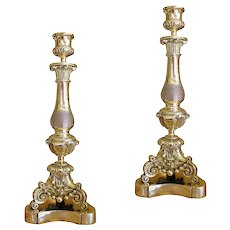 Pair of Louis Phillippe Polished Brass Candlesticks