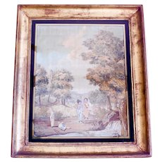 """Boys Playing Soldiers in a Landscape,"" Very Large Antique Framed Needlework, Probably French"