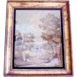 """""""Boys Playing Soldiers in a Landscape,"""" Very Large Antique Framed Needlework, Probably French"""