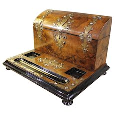 English Burl Walnut Letterbox Standish with Brass Mounts