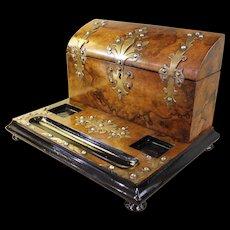 English Burl Walnut Letterbox Standish with Brass Mounts
