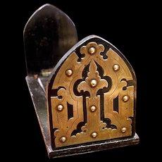 Victorian Brass Mounted Ebonized Wood Desk Top Bookshelf