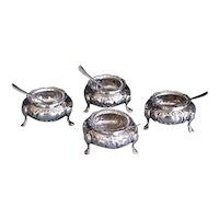 Set of Four English Sterling Open Salt Cellars, Thomas Smily (1827-1918)